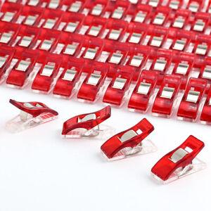 50-ou-100-Pince-Clips-Couture-rouge-en-Plastique-pour-Reliure-Patchwork-Crochet