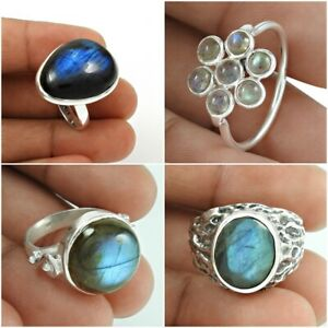 Labradorite-Gemstone-Ring-925-Sterling-Argent-ethnique-fait-main-Bijoux-US-Taille-7