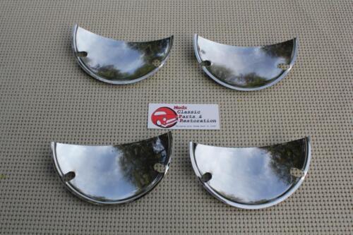 "5/"" Custom 4 Headlight Headlamp Chrome Half Moon Shield Trim Covers Hot Rat Rod"