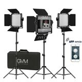 GVM Bi-Color LED Photography Video Studio Lighting Kit Panel Tripod Wireless APP (3 lights)