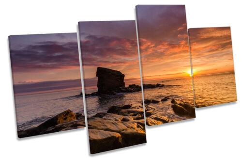Collywell bay sunset Northumberland Multi Toile Mur Art boxed encadrée