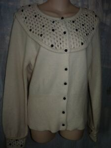 SLEEPING ON SNOW ANTHROPOLOGIE OFF WHITE BEADED CARDIGAN SWEATER L ...