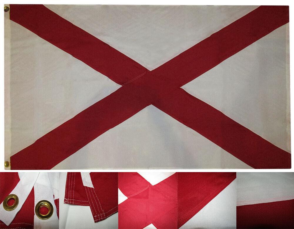 3x5 Bordado Cosidas State Of Alabama Sintético Algodón Flag 0.9mx5 ' 2 Clips