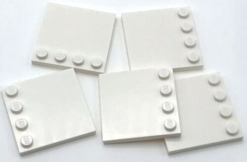 Lego 5 New White Tiles Modified 4 x 4 with Studs on Edge Pieces