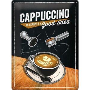 Blechschild-Cappuccino-Kaffee-Metall-Schild-40-cm-Shield-Neu