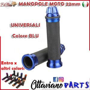 Coppia Manopole Moto Custom Scooter Universali Manubrio Diametro 24/22 BLU M93