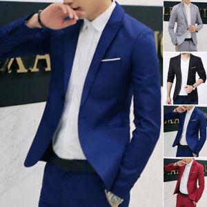 Men-039-s-Casual-Slim-Fit-Formal-Business-One-Button-Suit-Blazer-Coat-Jacket-Tops
