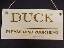Duck Please Mind Your Head Novelty Door Sign Wooden House Home Warning Plaque