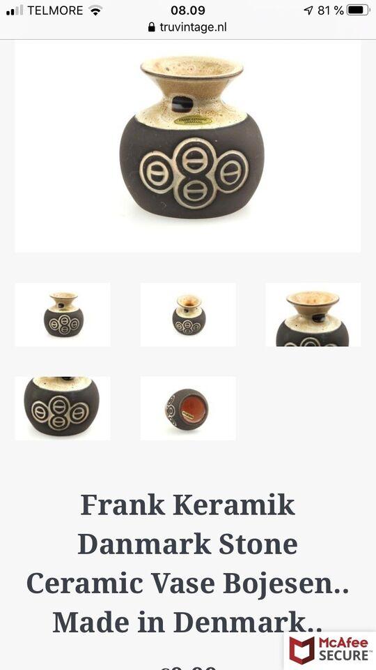 Fin lille retro keramik vase, Frank Keramik/Danmark