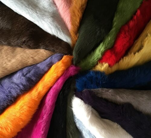 5x High Quality Dyed Rabbit Skin Pelt Real Fur - 20 Colours Available