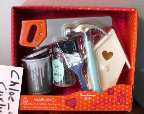 """Our Generation WOODWORKING KIT Set 18/"""" Girl Doll Tools /& Birdhouse Daddy/'s Girl"""
