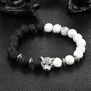 Handmade-Mens-Women-Animal-Beaded-Natural-Lava-Stone-8MM-Beads-Agate-Bracelet-N