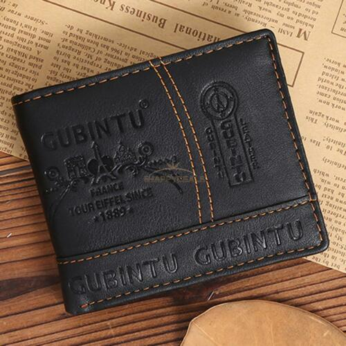 Mens Leather Bifold Wallet Credit//ID Card Receipt Holder Coin Money Purse Gift