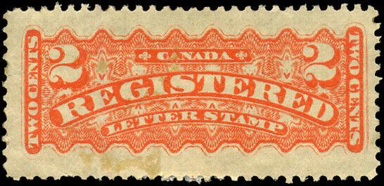 Canada #F1 mint VF OG DG 1875 Registration 2c orange CV$150.00