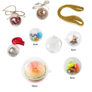 Clair-Boules-Boule-en-Plastique-Transparent-Craft-Boule-Decoration-De-Noel-Fete