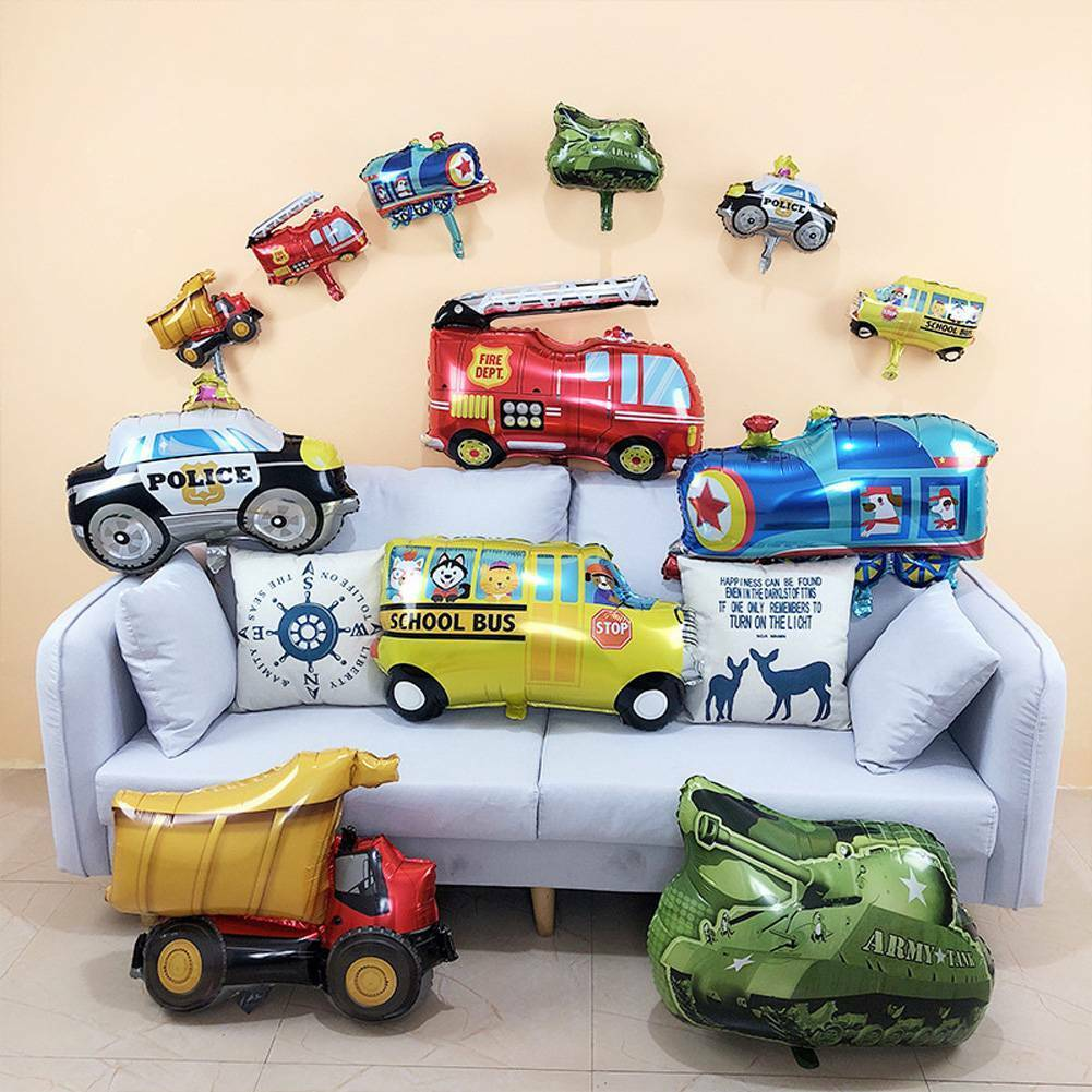Cartoon Car Balloons Birthday Party Helium Decorations Kids Toy Fun Birthday