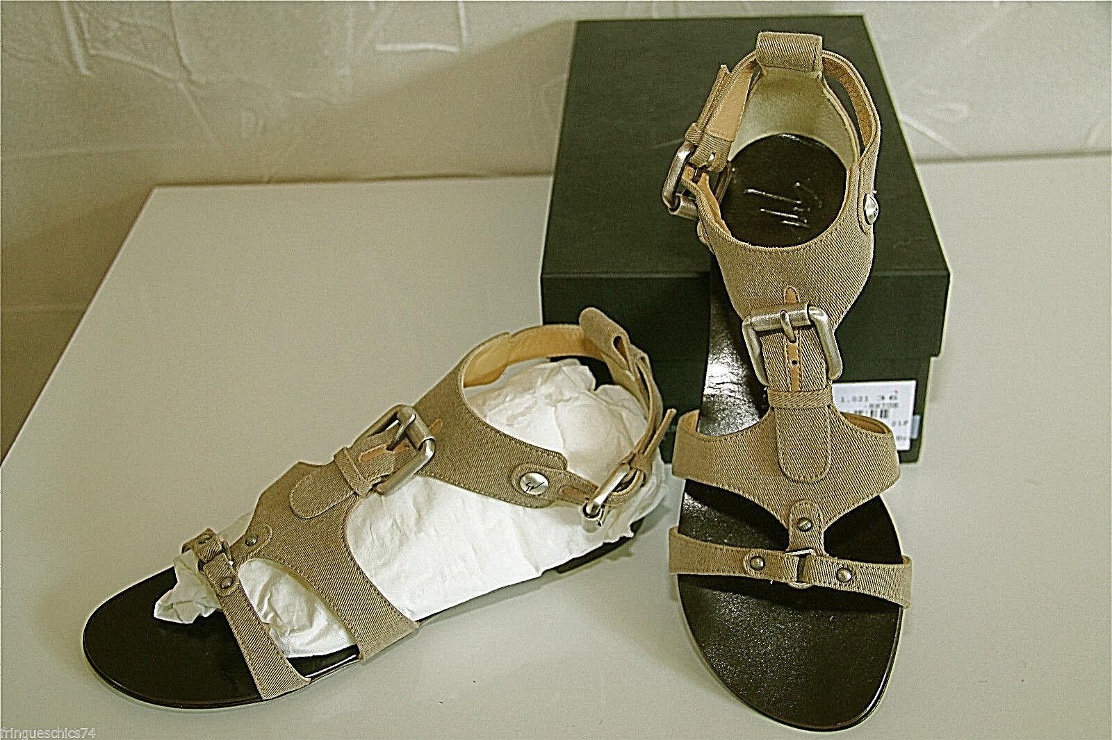 Sandals Canvas Beige Giuseppe Zanotti Roll E1sp09 Size 36 Eu 5,5 Us 3 UK V