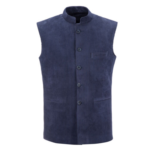 Corduroy Sleeveless Gilet Vest Nehru Jacket Indian Style Waistcoat Blue//Brown