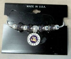 LSU-Charm-Bracelet-With-Silver-Beads-and-Charm