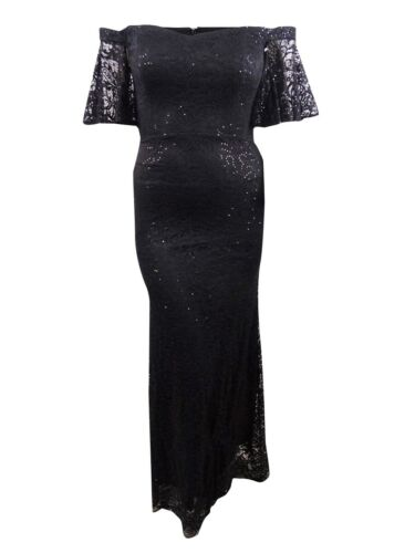 Betsy /& Adam Women/'s Sequined Lace Off-The-Shoulder Gown