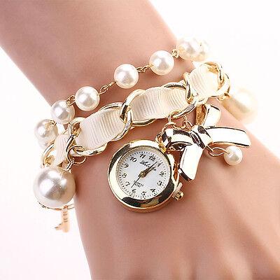 Women Watch Faux Pearl Rhinestone Steel Quartz Watches Analog Bracelet Watches