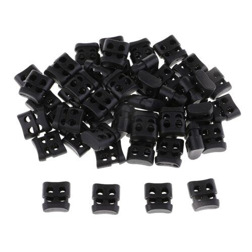 50pcs Plastic Double Hole String Cord Locks for   Shoelace Hole Diameter