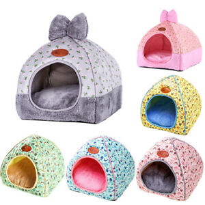 Pet-Cat-Dog-Warm-Bed-Tent-Triangle-Foldable-Kennel-Cave-Leopard-Print-House-GIFT