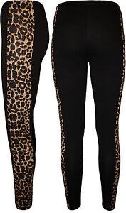 New-Womens-Ladies-Side-Panel-Animal-Leopard-Print-Full-Length-Leggings-Size-8-18