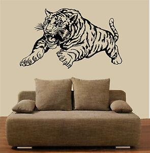 Wandtattoo-Tiger-angreifend-Afrika-Asien-Wandaufkleber-Wandsticker-Tiere