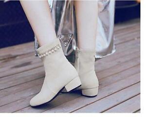 Dettagli su stivali stivaletti stiletto scarpe tacco 4 cm beige perle pelle sintetica 8635
