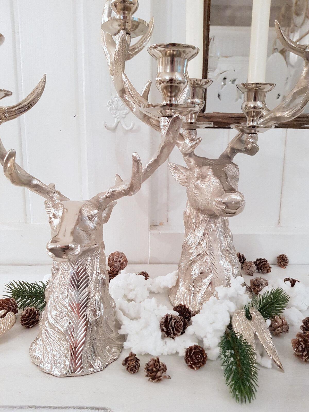 Kerzenleuchter Hirsch Silber Weihnachten Vintage Landhaus Metall Advent 2 Größen