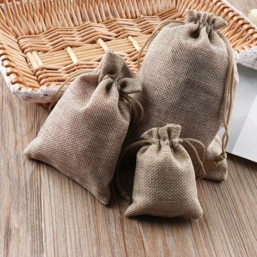 10X Jute Gift Bags Hessian Burlap Drawstring Pouch Wedding Favours UK