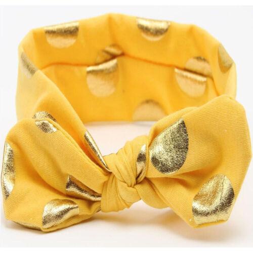 Baby Toddler Girl Glitter Gold Polka Dots Stretchy Bow Headband Hair Head Band