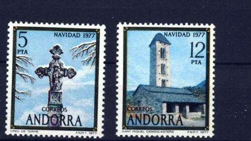 Spanish Andorra Stamps - 1977 Christmas Mint Condition (Set Of 2 Stamps)