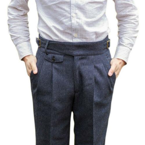 Hommes Laine Mélange à Chevrons Pantalon Vintage Tweed Droit Jambe Robe Pantalon