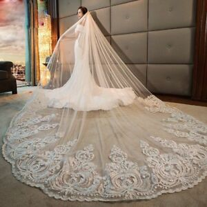 Cathedral-Long-Ivory-White-Wedding-Bridal-Veils-Lace-Simple-With-Comb-1T-Custom