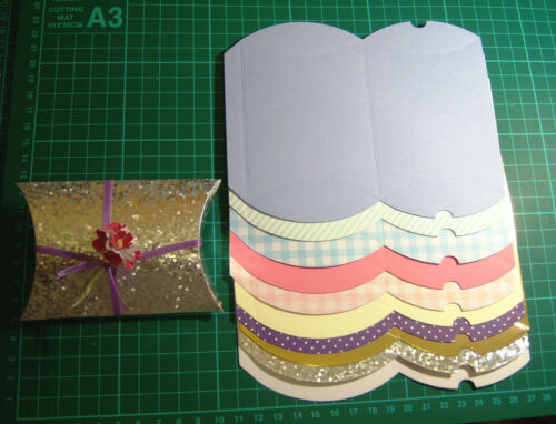 Pillow Box DIE CUT AND SCORED x10 Assorted Colours