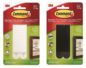 3M COMMAND Large Adhesive Strips 17206 17206BLK Picture Damage Free Wall Hanging