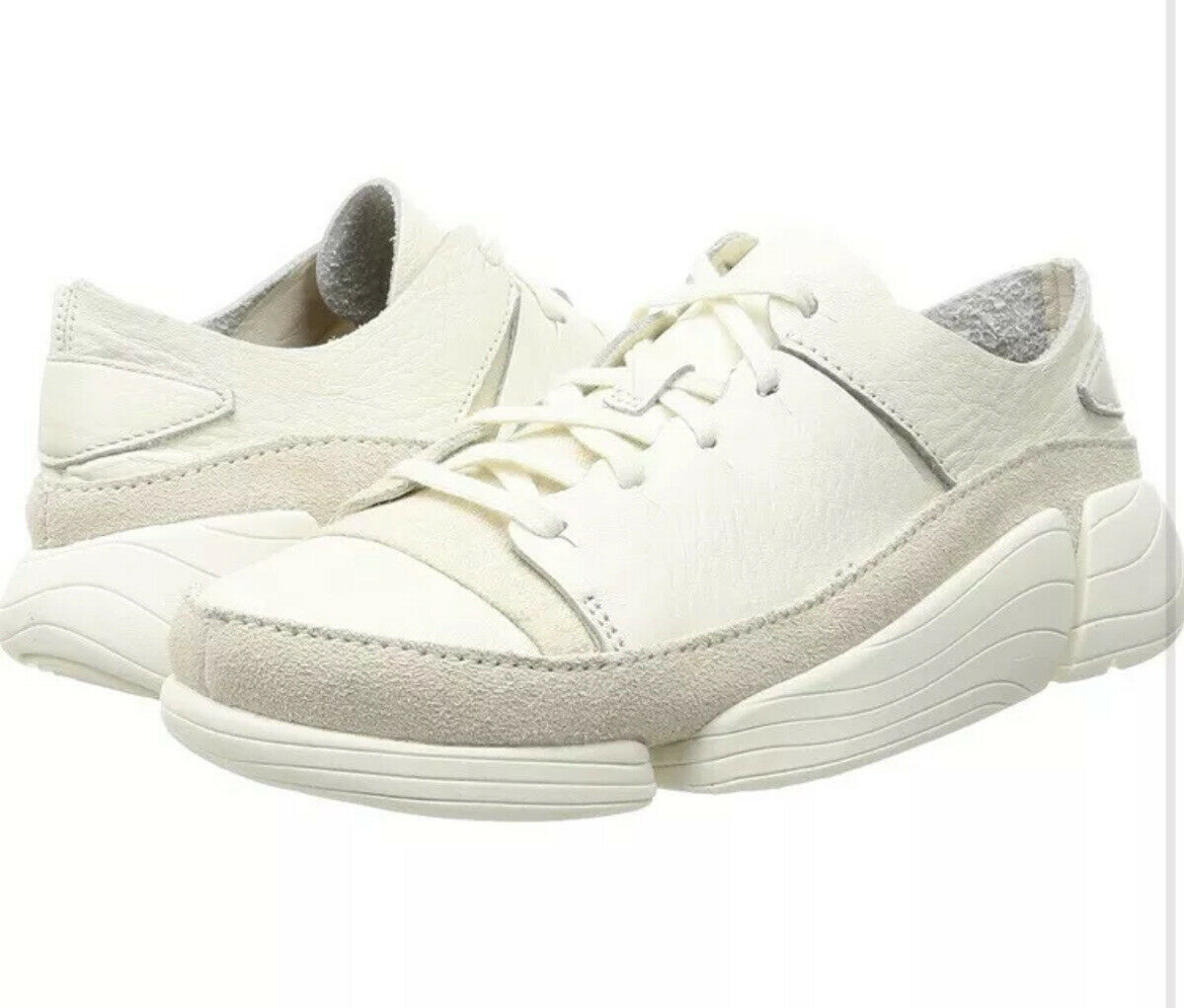 New Clarks Trigenic Evo UK Size 7.5 G Mens White Leather Shoes Trainers 41.5 EU