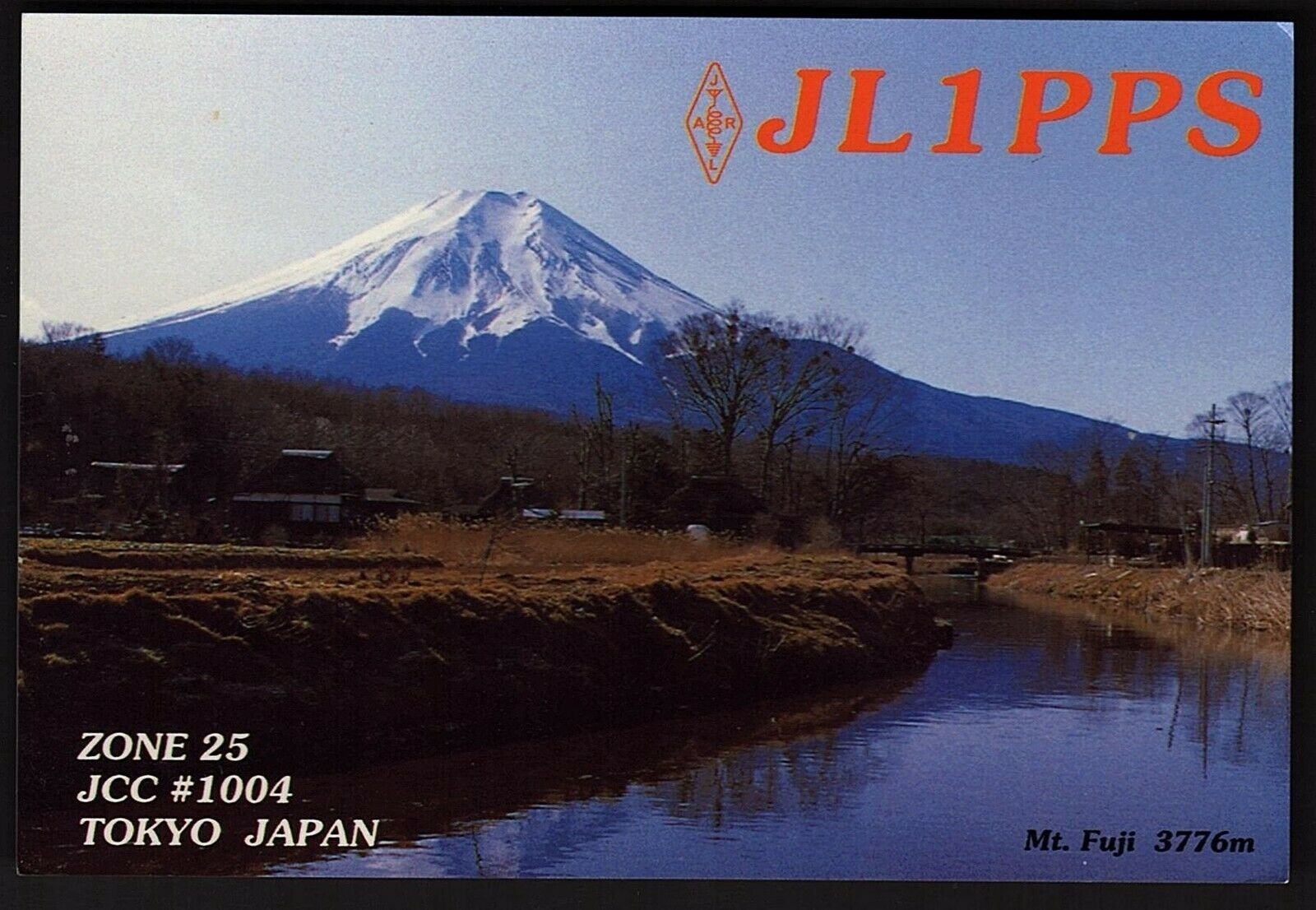 QSL QSO RADIO CARD JL1PPS,Photo of Mt. Fuji,Takeshi'Take' Osaka, Japan (Q2589)