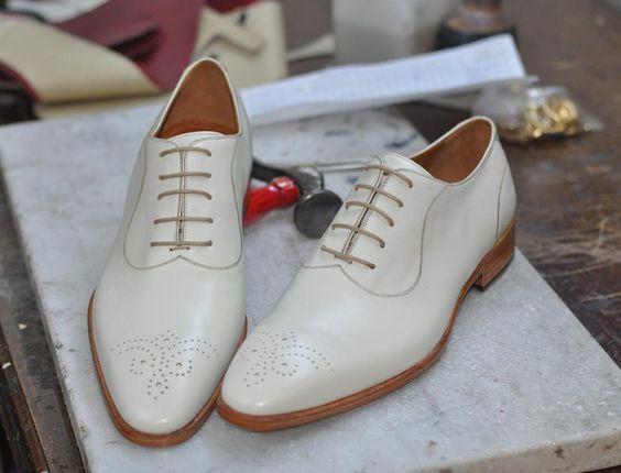 Zapatos de vestir blancoo De Hombre Zapatos De Cuero Hechos A Mano, blancoo Hombre Zapatos De Fiesta, para hombre