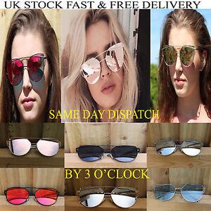 Damen Verspiegelte Gläser Designer Sport Retro Vintage Katzenaugen Sonnenbrille