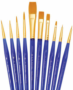 royal brush gold taklon paint brush of 10 pc set ultra short svp2
