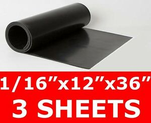 "3 SHEETS 1//16/"" thick Neoprene Rubber Sheet 12/"" x 36/"" Long Smooth FREE SHIP"