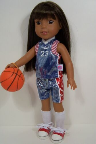 BLUE Basketball Uniform /&BALL Doll Clothes For AG 14 Wellie Wisher Wishers Debs