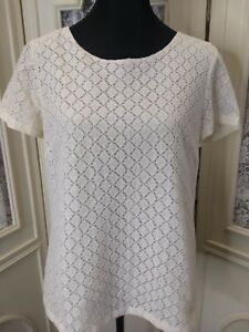 Coldwater-Creek-Women-039-s-Size-Medium-10-12-Ivory-Lace-Top-GUC