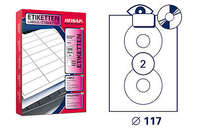 200 Drucker-Etiketten CD-Aufkleber 117 Weiß permanent 100 Bogen A4 HEISAP 28