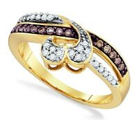 10k Yellow Gold Chocolate Brown & White Diamond Twist Ring W/ Heart Accent .25ct