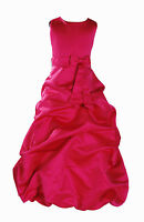 Hot Pink Satin Bridesmaid Party Pageant Flower Girl Dress 9-11 Years