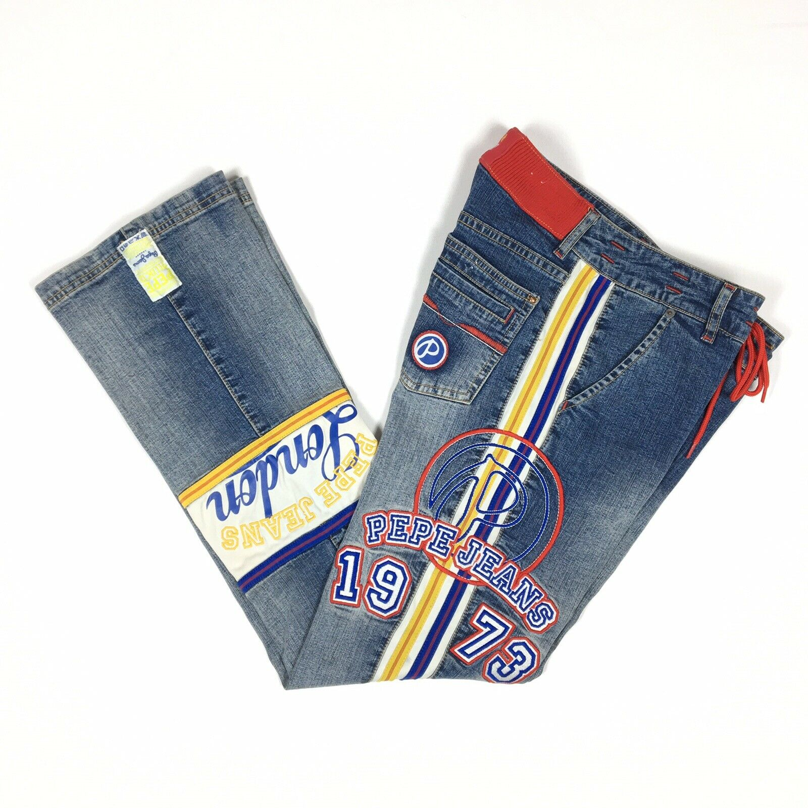Pepe Jeans London Women's Denim Size 30 x 33 Embroidered Vintage Hip Hop RARE